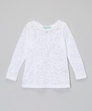 White Burnout Long-Sleeve Tee - Infant, Toddler & Girls
