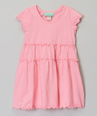 Pink Tiered Short-Sleeve Dress - Infant, Toddler & Girls