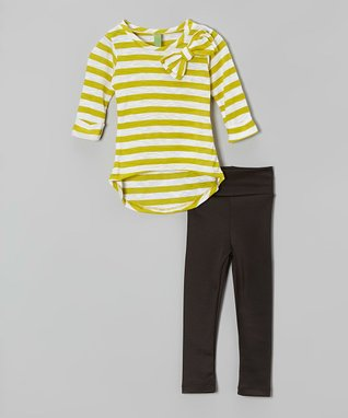 Green Stripe Tee & Leggings - Toddler & Girls