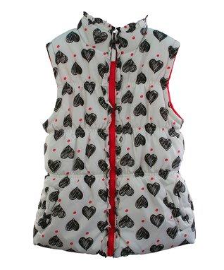White Heart Puffer Vest - Toddler & Girls