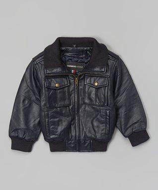 Black Leather Bomber Jacket - Toddler & Kids