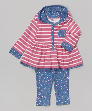 Baby Essentials Pink Stripe Hooded Tunic & Floral Leggings - Infant