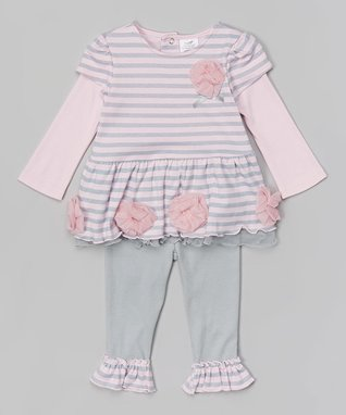 Baby Essentials Light Pink Stripe Layered Tunic & Ruffle Leggings - Infant
