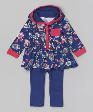 Baby Essentials Navy Floral Hooded Tunic & Leggings - Infant