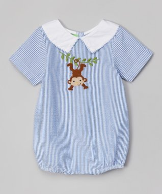 Blue Stripe Monkey Bodysuit - Infant