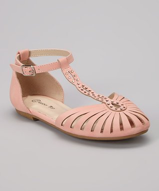 Light Coral Studded End Ankle-Strap Flat