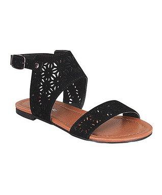 Black Perforated Alvina Sandal