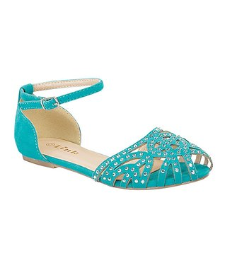 Sea Green Embellished Bella Ankle Strap Sandal