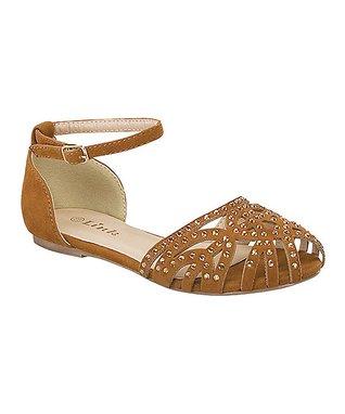Tan Embellished Bella Ankle Strap Sandal