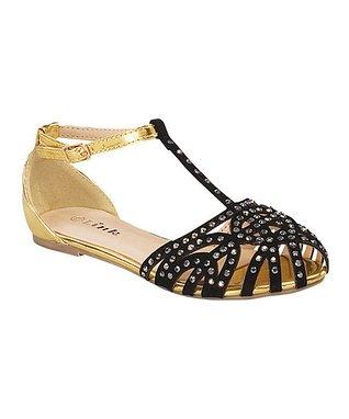 Black & Gold Bella T-Strap Sandal