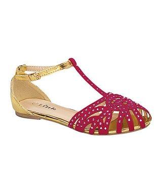 Fuchsia & Gold Bella T-Strap Sandal