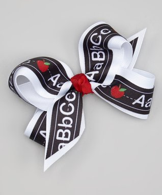 White & Black Alphabet Bow Clip