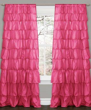 Pink Ruffle Curtain Panel