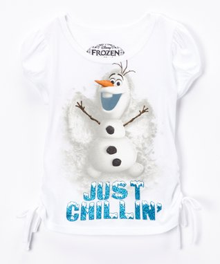 White Frozen Snow Angel Tee - Toddler & Girls