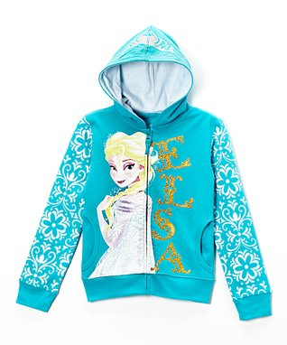 Blue Frozen Elsa Glitter Zip-Up Hoodie - Girls