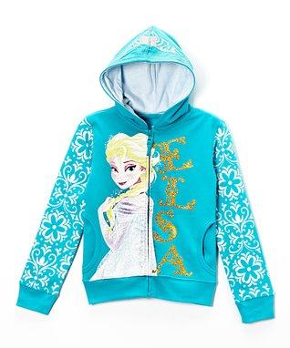 Blue Frozen Elsa Glitter Zip-Up Hoodie - Girls
