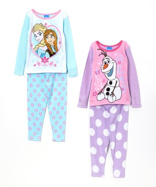 Flower & Dot Frozen Pajama Set - Toddler