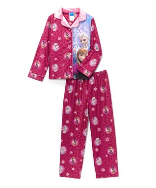 Pink Frozen Panel Button-Up Pajama Set - Girls