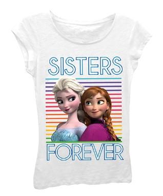 White Anna & Elsa 'Sisters Forever' Tee - Girls