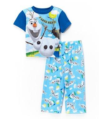 Blue Frozen Olaf Short-Sleeve Pajama Set - Toddler