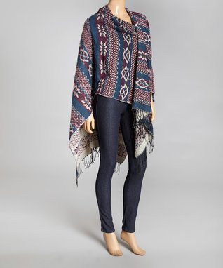 Aziza Burgundy & Blue Fair Isle Reversible Shawl - Women
