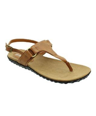 Tan Gemma T-Strap Sandal