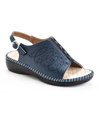 Navy Stitch Confident Slingback Sandal