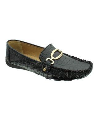 Black Patent Crocodile Embellished Loafer