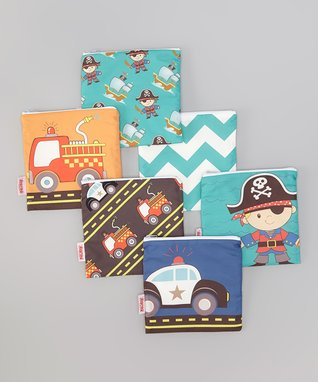 Cars & Pirates Reusable Snack Bag Set