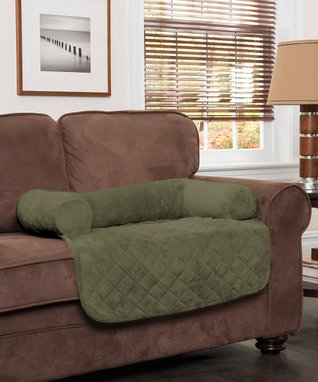 Olive Plush Pet Cover & Bolster Chair