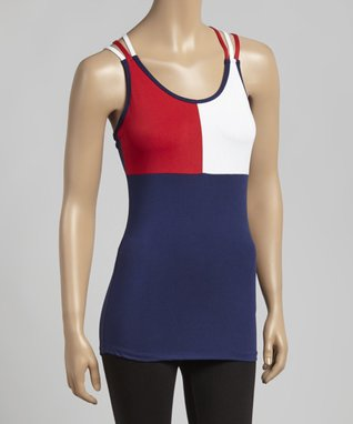 Fin Navy & Red Triple Strap Tank - Women