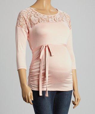 Mom & Co. Blush Lace Maternity Yoke Top - Women
