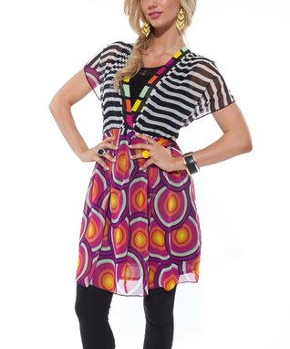 Orange & Purple Circles Dolman Dress