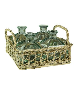 Beige Woven Basket & Bottle Set