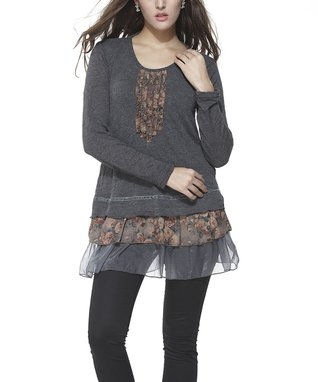 Simply Couture Brown Floral Scoop Neck Tunic - Women