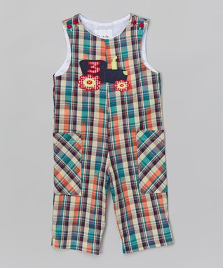 Blue & Orange Plaid Truck Overalls - Infant & Toddler