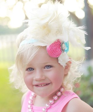 Pink & Ivory Feather Headband