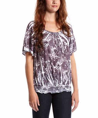 Simply Irresistible Brown Jungle Shirred Blouson Blouse - Women