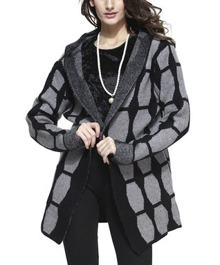 Simply Couture Black Rosette Sidetail Cardigan - Women