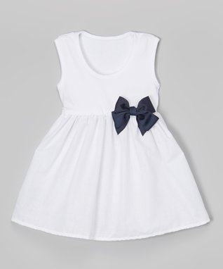 White & Navy Bow Dress - Infant & Toddler