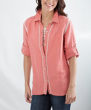 Montanaco Coral Wendy Linen-Blend Button-Up - Women