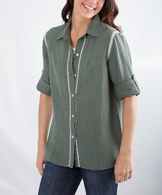 Montanaco Green Wendy Linen-Blend Button-Up - Women