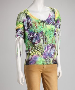 Simply Irresistible Green & Purple Wildflower Sublimation Top - Women