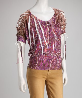 Simply Irresistible Magenta Paisley Filigree Sublimation Top - Women