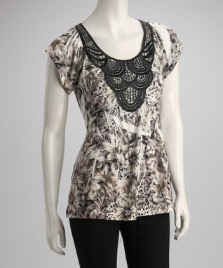 Simply Irresistible Brown Floral Jungle Crocheted Top - Women
