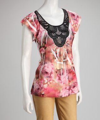Simply Irresistible Rust & Pink Rose Sublimation Crocheted Top - Women