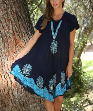 Ananda's Collection Black & Turquoise Tie-Dye Embroidered Swing Dress