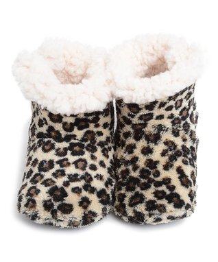 Skidders Tan Leopard Boot Slippers