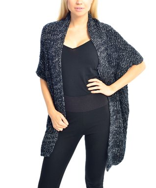 SUE & KRIS Cream Marled Open Shawl Cardigan - Women