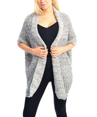 SUE & KRIS Camel Marled Open Shawl Cardigan - Women